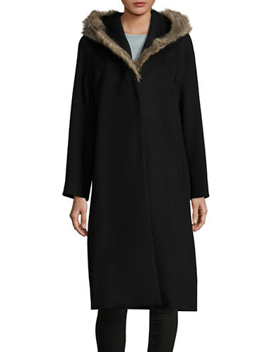 Tomorrowland Faux Fur Hood Topcoat-BLACK-EUR 40/US 8
