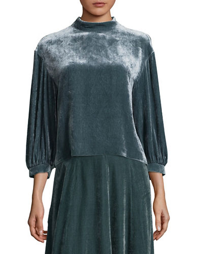 Tomorrowland Mock Neck Puff Top-GREEN-EUR 38/US 6