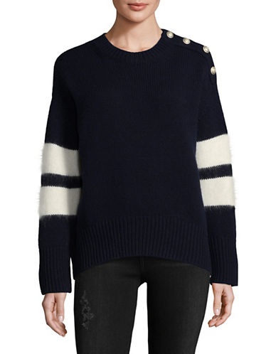 Tomorrowland Wool-Blend Stripe Stud Detail Sweater-NAVY-Large