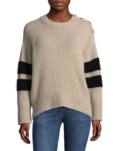 Tomorrowland Wool-Blend Stripe Stud Detail Sweater-BEIGE-Medium