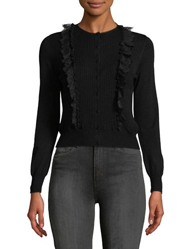 Tomorrowland Lace Front Cardigan-BLACK-Small