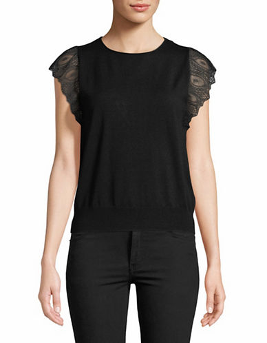 Tomorrowland Sleeveless Lace Top-BLACK-Small