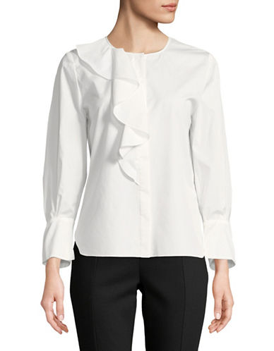 Tomorrowland Cotton Ruffle Shirt-WHITE-EUR 42/US 10