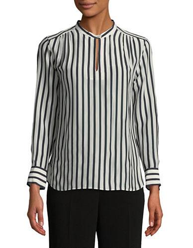 Tomorrowland Silk-Blend Striped Blouse-NAVY-EUR 38/US 6