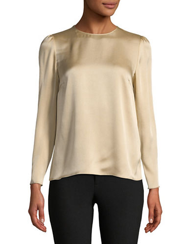 Tomorrowland Silk Long Sleeve Blouse-BEIGE-EUR 42/US 10