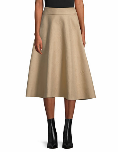 Tomorrowland Jacquard Flare Skirt-BEIGE-EUR 34/US 2