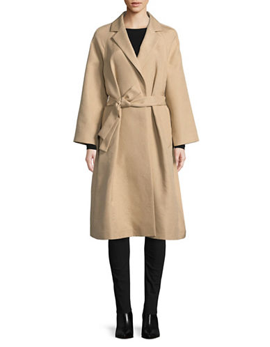 Tomorrowland Cotton-Blend A-Line Coat-BEIGE-EUR 40/US 8