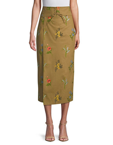 Tomorrowland Flower Drill High-Waist Wrap Skirt-BROWN-EUR 36/US 4
