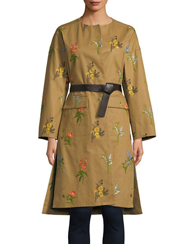 Tomorrowland Flower Drill Belted Cotton Overcoat-BROWN-EUR 36/US 4