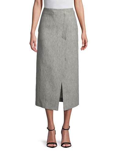 Tomorrowland Dual Nature Linen Cigarette Skirt-GREY-EUR 40/US 8