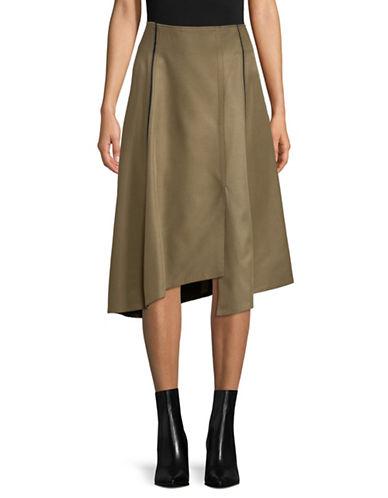 Tomorrowland Asymmetrical Flare Skirt-KHAKI-EUR 34/US 2