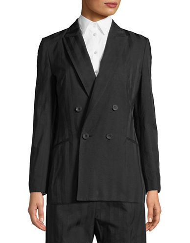 Tomorrowland Cotton-Blend Pinstripe Blazer-BLACK-EUR 42/US 10