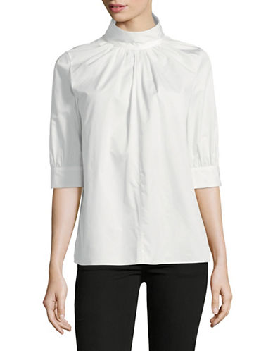 Tomorrowland Gathered Cotton Blouse-WHITE-EUR 40/US 8