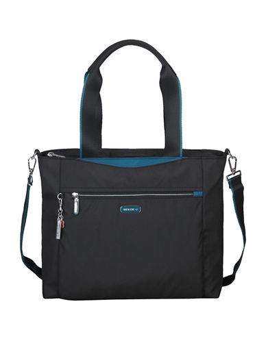 Beside-U Gwen Black Travel Tote with RFID Protection-BLACK/BLUE-One Size