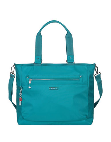 Beside-U Fontana Leather RDID Protected Tote-BLUE-One Size