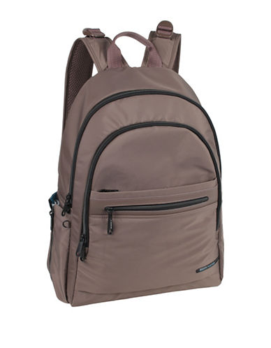 Beside-U Tube Connection Cora RFID Protected Travel Backpack-BROWN-One Size