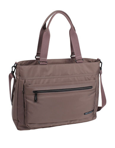 Beside-U Tube Connection Adeline RFID Protected Tote-BROWN-One Size