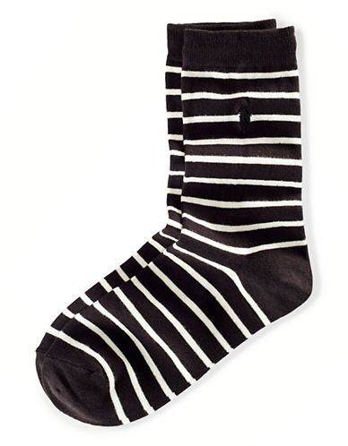 Polo Ralph Lauren Stripe Socks-BLACK-One Size