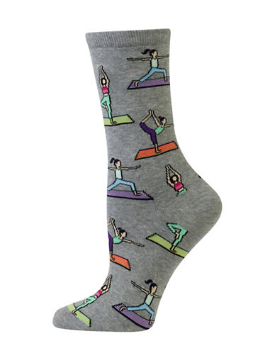 Hot Sox Yoga Crew Socks-GREY-One Size 88971635_GREY_One Size