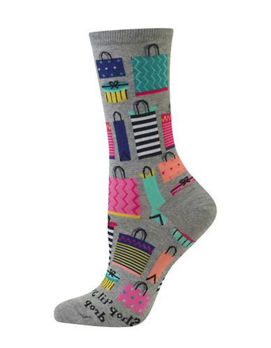 Hot Sox Shop Till You Drop Crew Socks-GREY-One Size 88971641_GREY_One Size