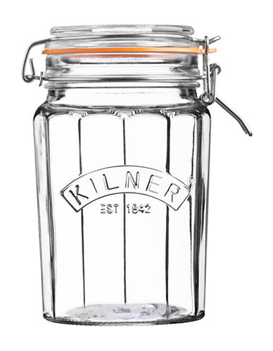 Kilner Facetted Clip Top 0.9L Jar-CLEAR-One Size
