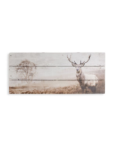 Graham And Brown 42-244 Stag Print on Wood Art-NATURAL WOOD-One Size