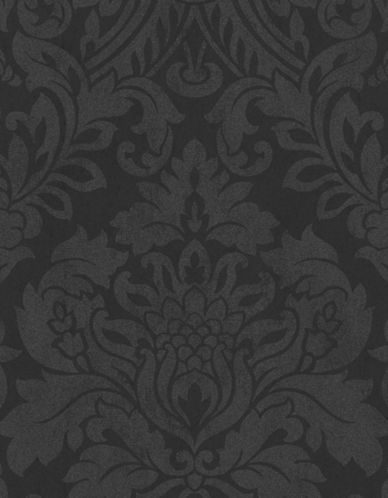 Graham And Brown 33-331 Gloriana Damask Wallpaper-BLACK-One Size