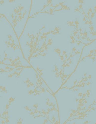 Graham And Brown 100507 Springtime Wallpaper-AQUA/GOLD-One Size