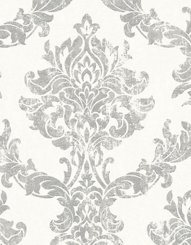 Graham And Brown 101468 Opal Damask Wallpaper-WHITE/SILVER-One Size