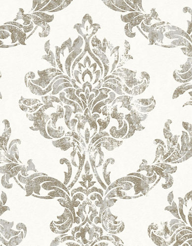 Graham And Brown 101469 Opal Damask Wallpaper-WHITE/GOLD-One Size