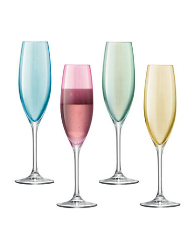 Lsa International Polka Set of Four Glass Champagne Flutes-ASSORTED-One Size