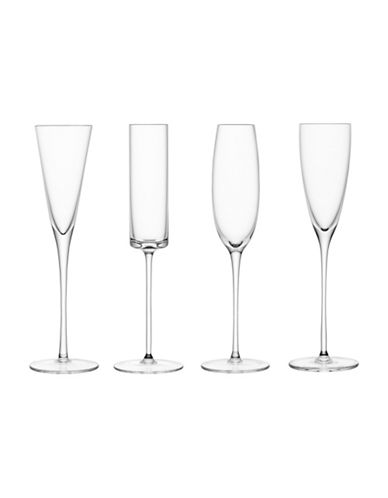 Lsa International Lulu Set of Four Handmade Champagne Flutes-CLEAR-One Size