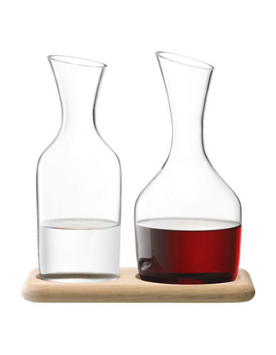 Lsa International Two Carafe Set and Oak Base-CLEAR-One Size