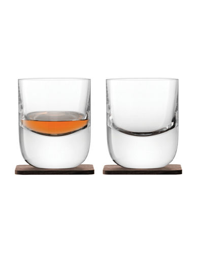 Lsa International Set of Two Whisky Renfrew Tumbler & Walnut Coasters-CLEAR-One Size