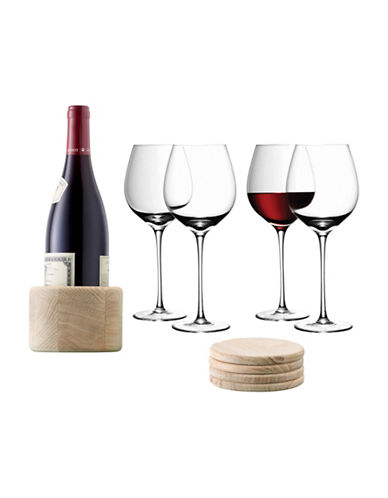 Lsa International Nine-Piece Handmade Wine Glass and Oak Coaster Set-CLEAR-One Size