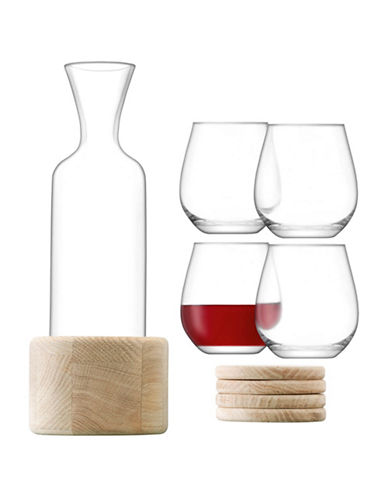 Lsa International 10-Piece Handmade Wine Carafe Coaster Set-CLEAR-One Size