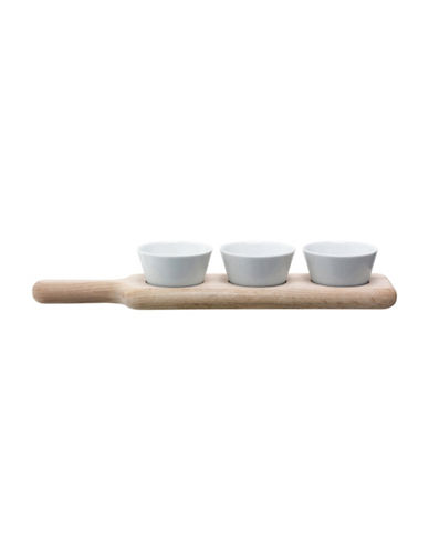 Lsa International Paddle Bowls and Oak Paddle Set-WHITE-One Size
