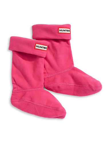 Hunter Youth Fleece Boot Socks-PINK-Large
