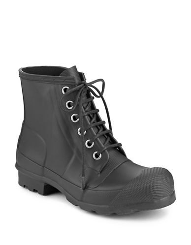 Hunter Original Rubber Lace Up Boots-BLACK-12