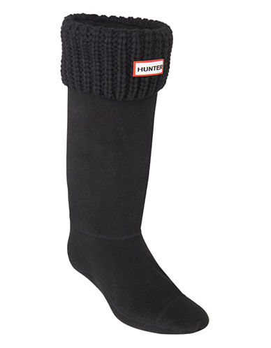 Hunter Half Cardigan Tall Boot Socks-BLACK-Small/Medium