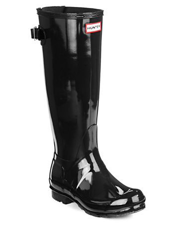 Hunter Adjustable Back Strap Rain Boots-BLACK-7