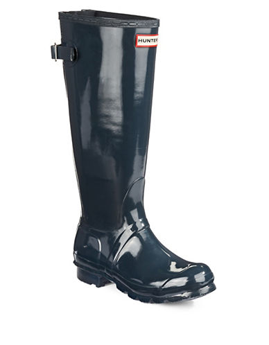 Hunter Adjustable Back Strap Rain Boots-NAVY-10