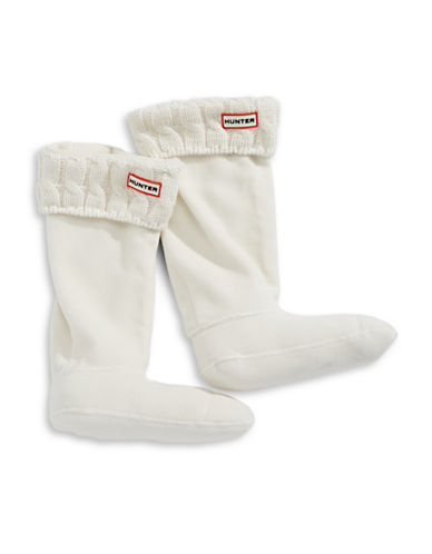 Hunter Tall Cable Knit Boot Socks-NATURAL WHITE-Large