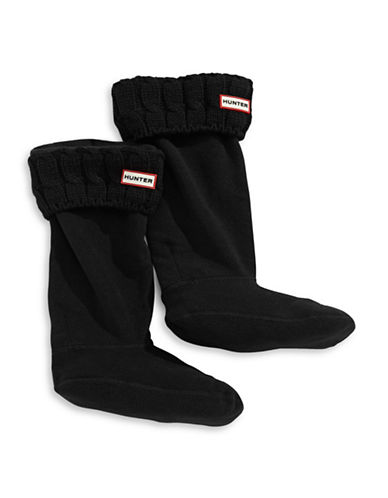 Hunter Tall Cable Knit Boot Socks-BLACK-Large