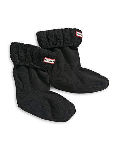 Hunter Cable Knit Boot Socks-BLACK-Medium