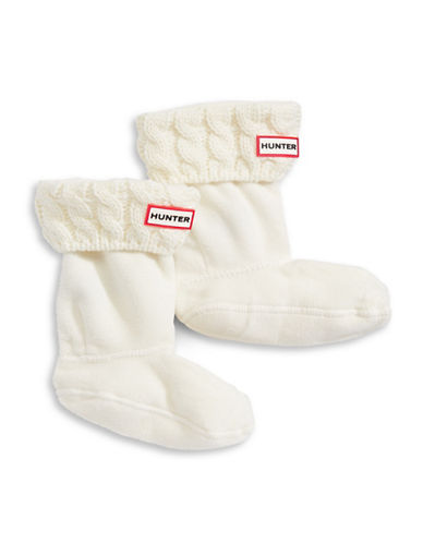 Hunter Youth Cable Knit Boot Socks-NATURAL WHITE-Medium