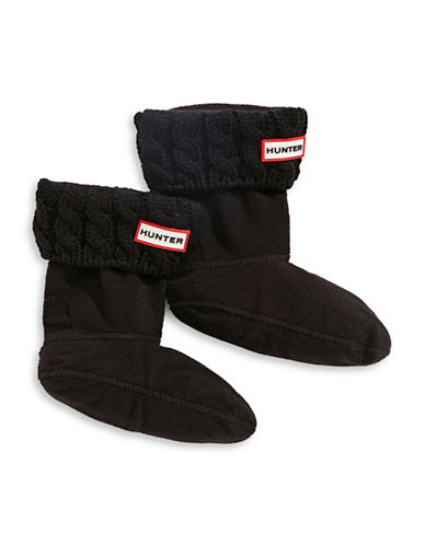 Hunter Youth Cable Knit Boot Socks-BLACK-Medium