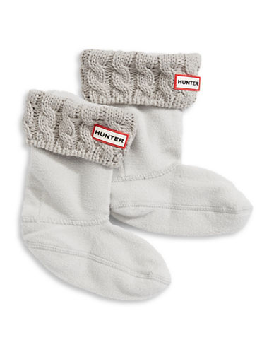 Hunter Youth Cable Knit Boot Socks-GREY-Medium