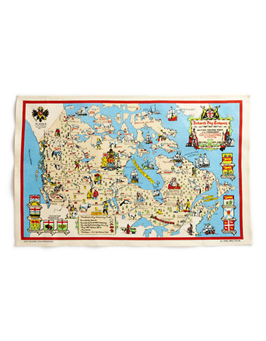HudsonS Bay Company Archival Map Linen Tea Towel-BEIGE MULTI-One Size