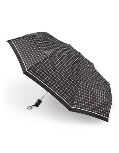 Fulton Bordered Check Umbrella-BLACK-One Size